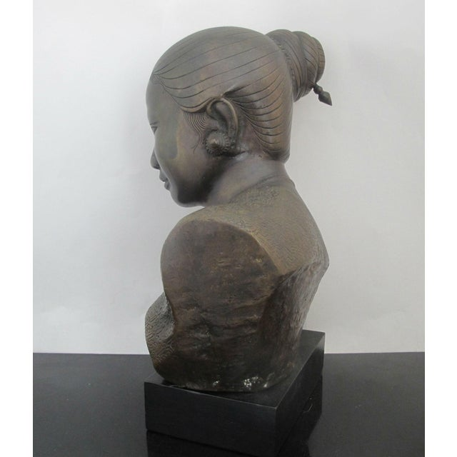Gold 20th Century Figurative Bronze Sculpture of Burmese Thai Woman Female Bust For Sale - Image 8 of 9