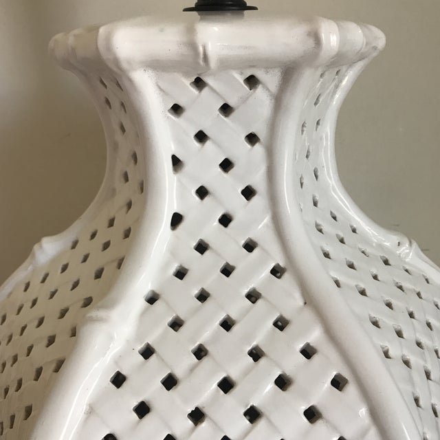Contemporary White Faux Bamboo Table Lamp For Sale - Image 3 of 11