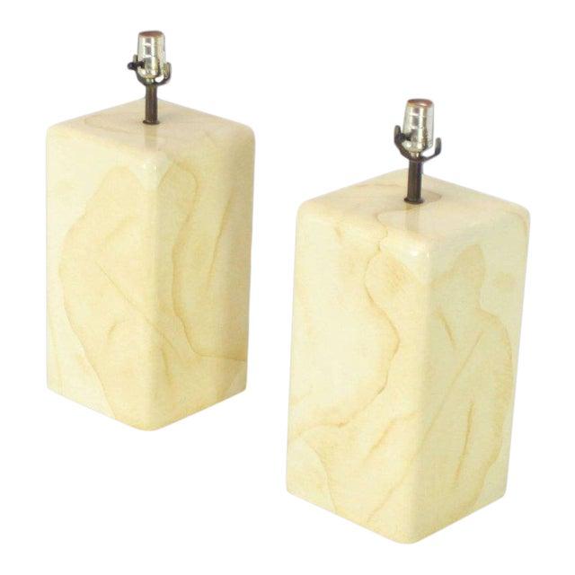 Faux Parchment Goatskin Table Lamps - a Pair For Sale