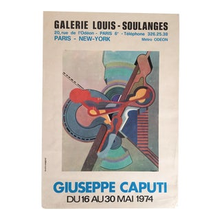 Giuseppe Caputi 1974 Abstract Expressionist French Exhibition Lithograph Print Poster