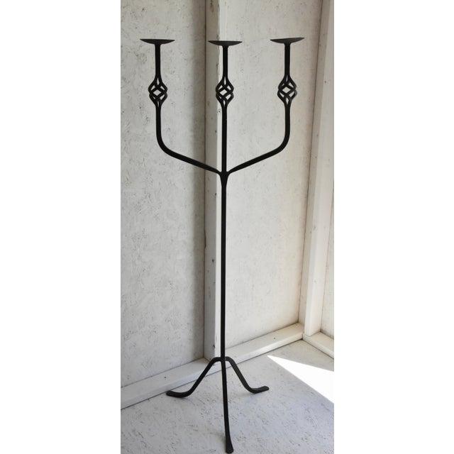 "1970s Spanish Black Wrought Iron Floor 3-Pillar Candelabra - 55"" For Sale - Image 5 of 5"