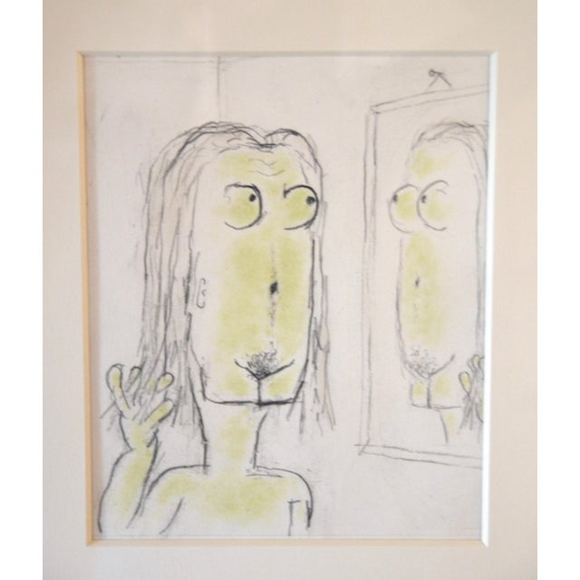 Whimsical pencil drawing, 'Magritteing the Mirror', by highly regarded artist William Anthony (b. 1934), in his signature...