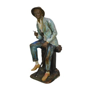 Farnsworth Large Painted Bronze Statue of Seated Black Man With Cane & Cigar For Sale