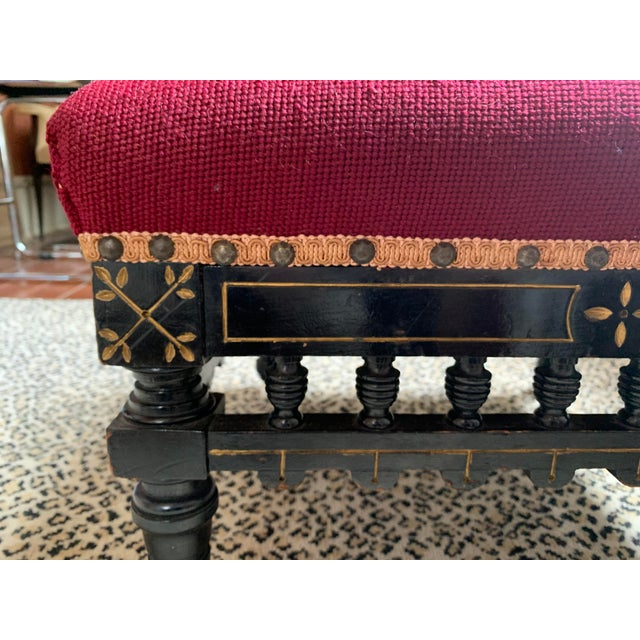19th Century Ebonized Aesthetic Movement Tabouret on Casters For Sale - Image 5 of 8