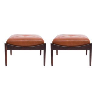 Kristian Vedel Rosewood & Leather Ottomans - a Pair For Sale