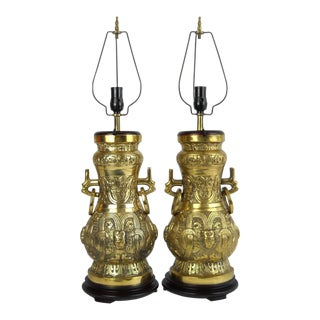James Mont-Style Asian Brass Lamps, Pair For Sale