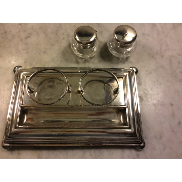 Metal Early 20th Century Sheffield Silver Plate and Crystal Inkwell For Sale - Image 7 of 8