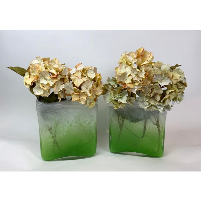 Henry Dean Rectangular Glass Vases - a Pair For Sale - Image 12 of 13