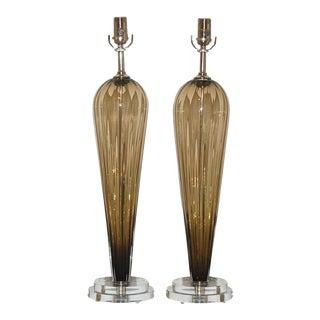 A Single Joe Cariati Glass Teardrop Lamp in Bronze For Sale