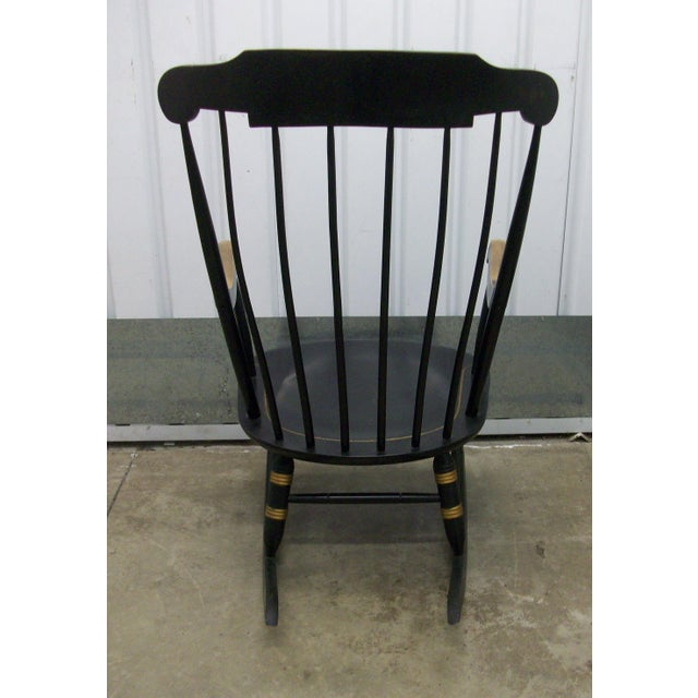 1970's Vintage Black Nichols & Stone Painted Hitchcock Style Rocking Chair For Sale - Image 4 of 9