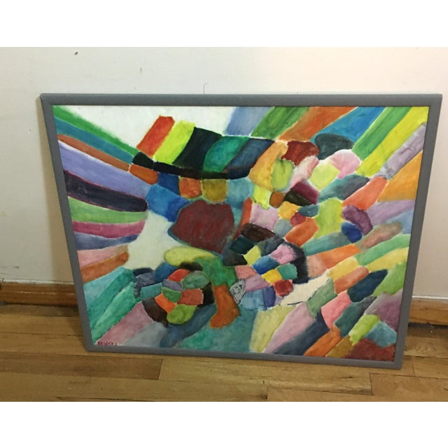Phyllis Brodsky (American 20th C.) Colorful geometric abstract geometric abstract. Oil on canvas. Signed lower left. Frame...