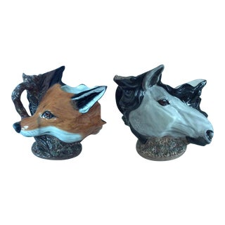 Double Sided Horse/Fox Vintage Royal Stratford for Staffordshire Stirrup Cup Pitcher For Sale
