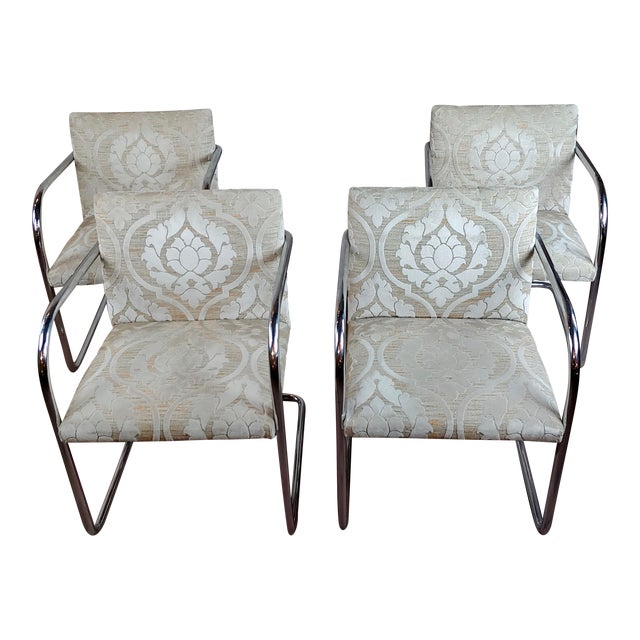 Mies Van Der Rohe Vintage Chrome Arm Chairs - Set of 4 For Sale