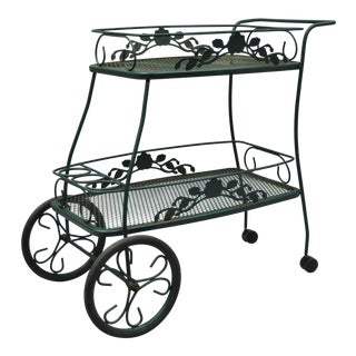 Meadowcraft Dogwood Green Wrought Iron Tea Cart Rolling Bar Server Patio Garden