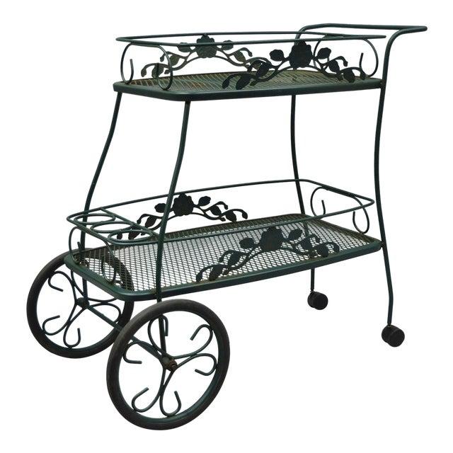 Meadowcraft Dogwood Green Wrought Iron Tea Cart Rolling