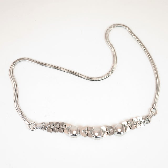Art Deco Engel Brothers Rhodium Sterling & Crystal Necklace 1930s For Sale - Image 10 of 13
