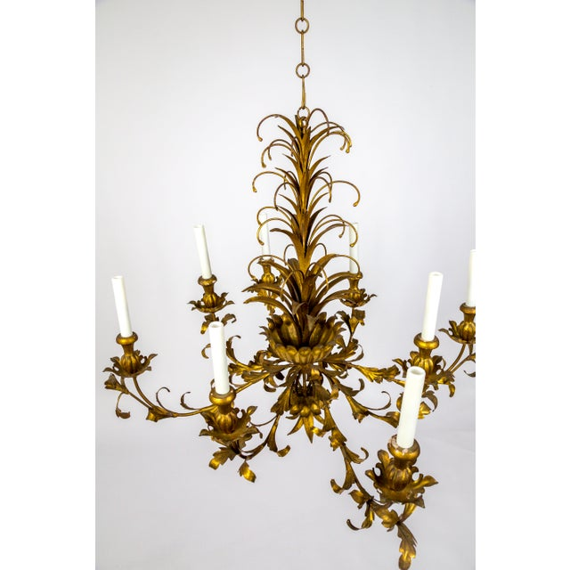 Gilt Palm Leaf Regency Chandeliers (2 Available) For Sale In San Francisco - Image 6 of 13