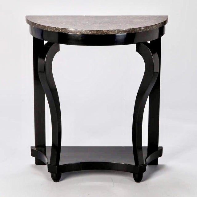 French Demi Lune Ebonised Console with Marble Top - Image 2 of 8