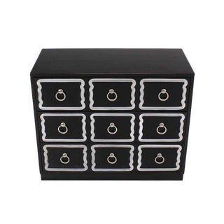 Dorothy Draper Black and Silver Three Drawer Chest of Drawers Dresser Commode For Sale