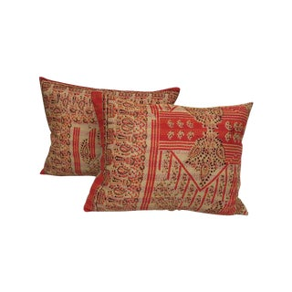 Kantha Quilt Silk Indian Pillows - A Pair For Sale