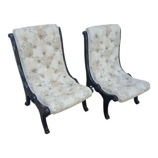 Tufted Victorian Slipper Chairs - A Pair