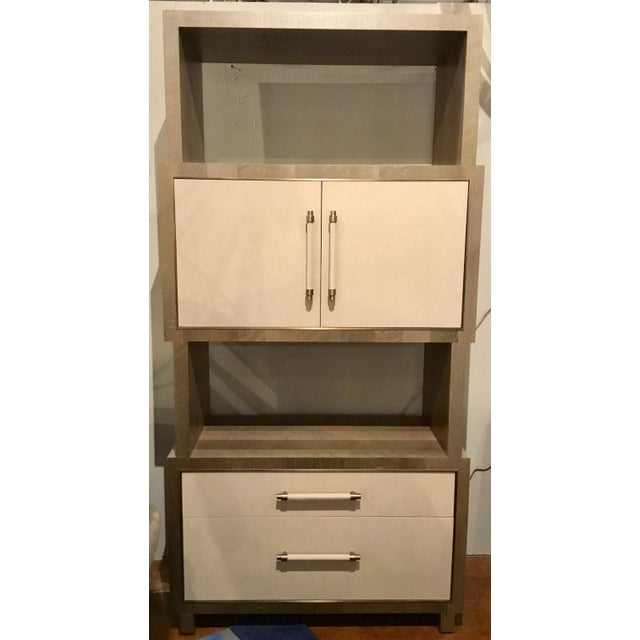 Stylish modern Henredon East End gray and taupe etagere, gorgeous wood grain, upholstered door fronts, two drawers and one...