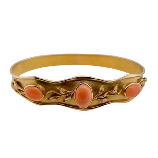 Art Nouveau 14k Gold Coral Set Bangle Bracelet For Sale