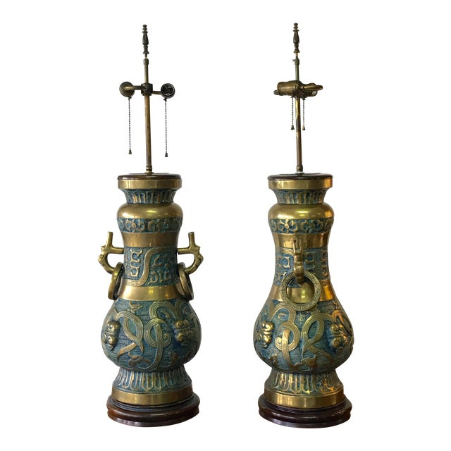 Pepe Mendoza, Monumental Pair of Brass and Enamel Lamps - Image 1 of 9