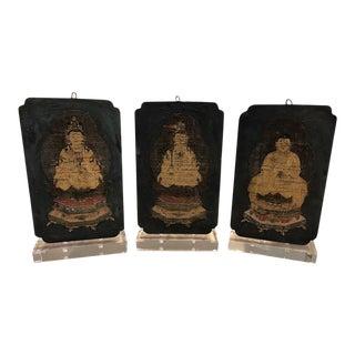 18th Century Tibetan Thangka Fragments - Set of 3 For Sale