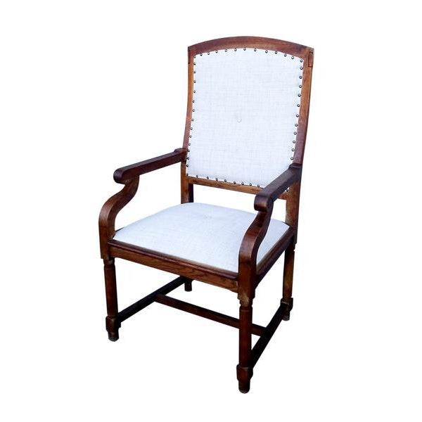 Large, very solid and comfortable completely restored armchair in the Louis XIII Style made from walnut wood with curved...