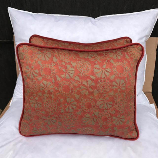 Transitional Rust & Metallic Gold Fortuny Pillows - A Pair - Image 2 of 5