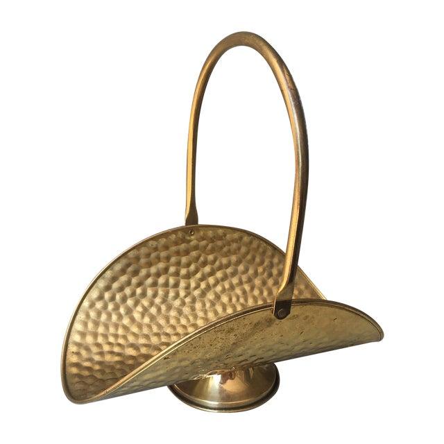 Hammered Brass Flower Basket - Image 1 of 8