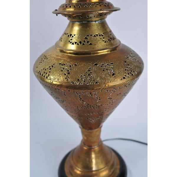 Boho Chic Vintage Moroccan Pierced Brass Lamp For Sale - Image 3 of 6