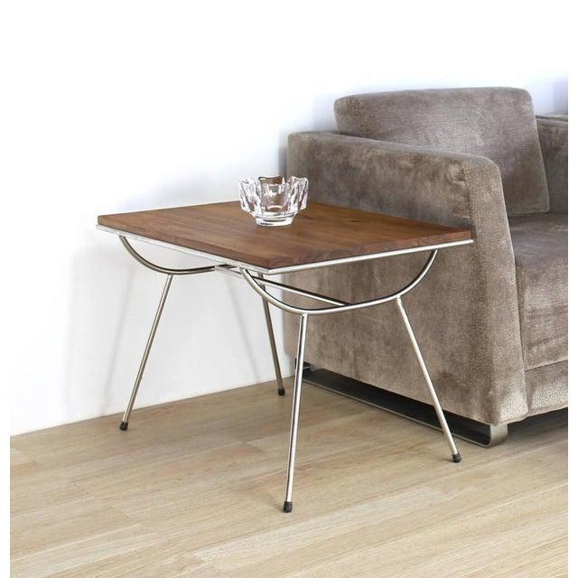 Mid-Century Modern Pair of Sputnik Chrome Base Side Table For Sale - Image 3 of 9