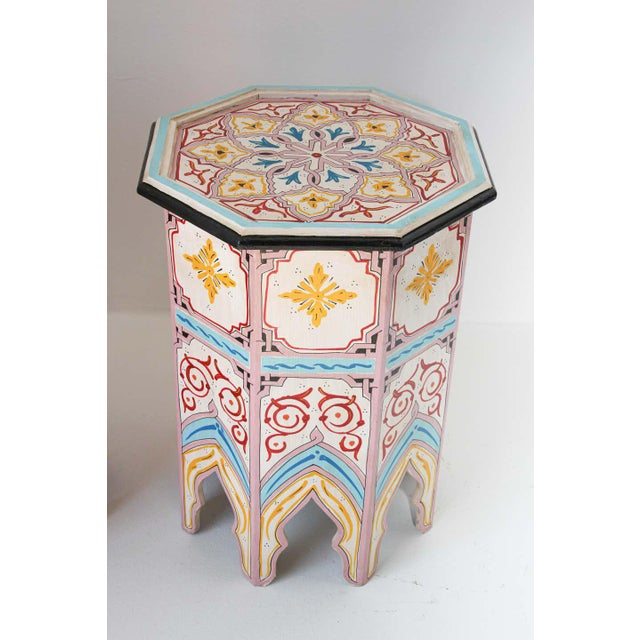 Wood Moroccan Hand Painted Side Tables - a Pair For Sale - Image 7 of 13