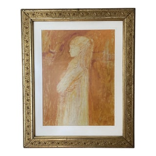 Mid 20th Century Portrait of a Young Girl Oil Pastel by Ki David, Framed For Sale