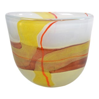 Italian Mid-Century Modern Striking Mustard Yellow & Red Blown Murano Glass Vase For Sale