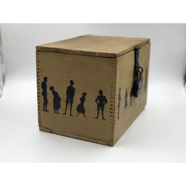 19th Century Silhouette Painted Wooden Box For Sale - Image 4 of 13