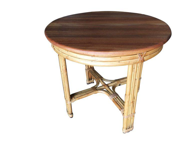 Mid Century Modern Restored X Pattern Round Rattan End Table With Mahogany  Top For Sale