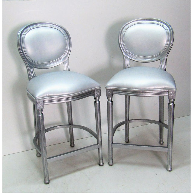 1980s Vintage Silver Beechwood Barstools With Metallic Faux Leather Seats- A Pair For Sale In West Palm - Image 6 of 6