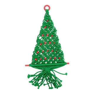 Vintage Beaded Macrame Christmas Tree For Sale