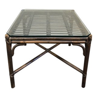 McGuire Vintage Bamboo + Glass Accent Table For Sale