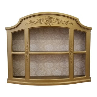 1950s Vintage Hollywood Regency Gold Vitrine Wall Display Open Curio Cabinet For Sale