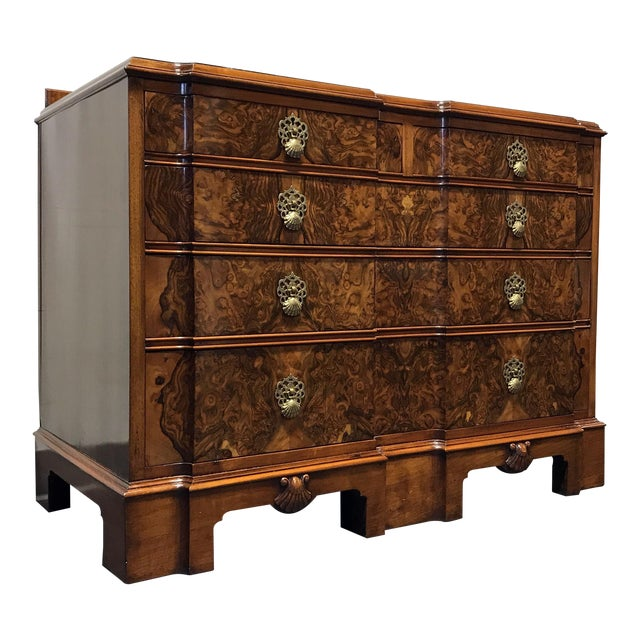Early 20th Century Burl Walnut Block Front Bachelor Chest of Drawers - Image 1 of 11