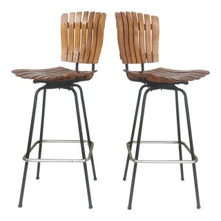 Pair Mid-Century Slat Bar Stools After Arthur Umanoff For Sale