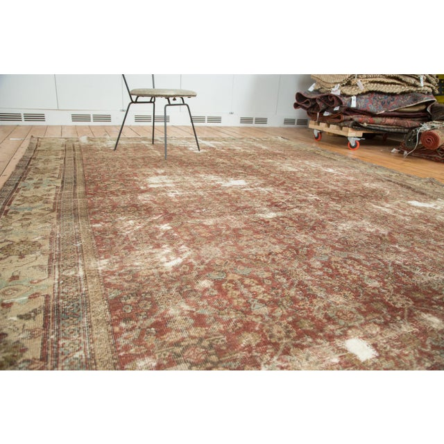 "Textile Antique Distressed Mahal Carpet - 9' x 11'6"" For Sale - Image 7 of 10"