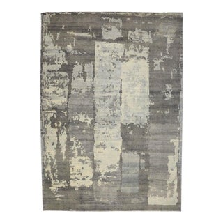 Modern Gray Transitional Rug with Contemporary Abstract Paint Strokes
