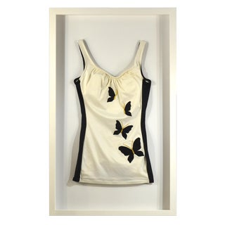 Framed Vintage White & Black Swim Suit