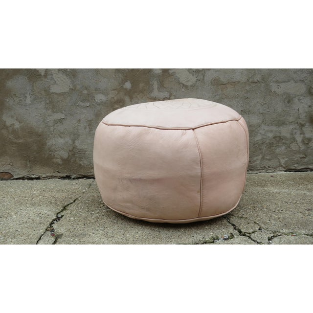 Moroccan Nude Leather Pouf - Image 3 of 5