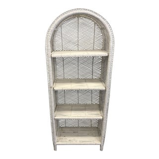 Vintage White Wicker Open Dome Top Bookcase For Sale